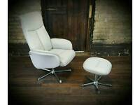 Accent swivel reclining chair and footstool