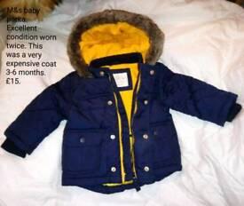 M&S Baby parker coat 3-6 months