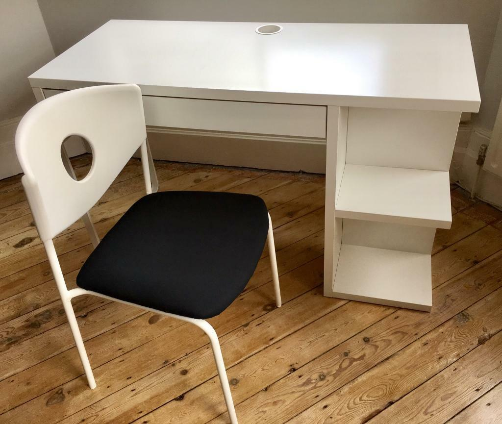Ikea Micke Desk White With Storage Cubes Amp Chair In