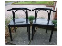 2 Black Wood Dining Or Desk Chairs, Extra Seating for Xmas
