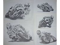 collection of Motorbike racing Legends ~ drawn in pencil