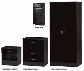 *12 MONTH GUARENTEE* High Gloss Black Bedroom Mirror Wardrobe Set With Chest and Side Table