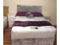 KINGSIZE DIVAN BED WITH ORTHO MATTRESS AND HB CRUSHED SILVER VELVET