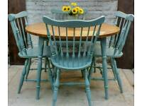 Rustic Farmhouse Style Shabby Chic Round Kitchen Dining Table And Four Chairs