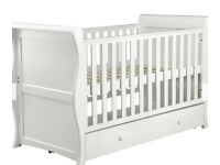 Used John Lewis Martha Sleigh Cotbed and Mothercare Mattress in White