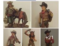 A HUGE COLLECTION OF COWBOY AND INDIAN FIGURINES / STATUES.,FOR SALE..