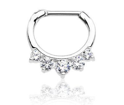 16g Gem (16G Steel Gem Septum Clicker Nose Ear Daith Nipple Conch Tragus NippleRings Ring )