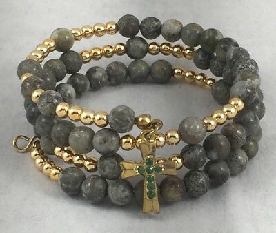 (Irish Connemara Marble w/Gold tone Bead & Cross Wrap Bracelet)