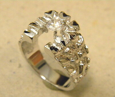 Horse Nugget - Men's Rhodium Plated Horse Shoe Nugget Ring CZ Size 11.5 New Free Shipping