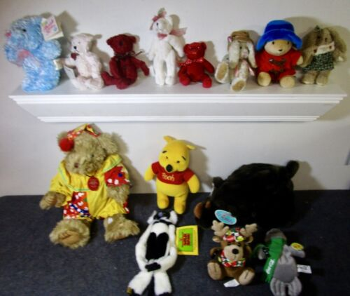 large lot of plush animals bears bunnies rhino monkey some with tags name brands