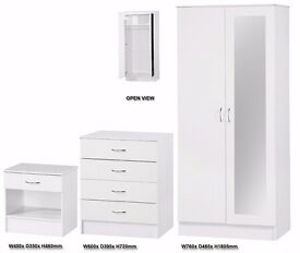 *30-DAY MONEY BACK GUARANTEE* High Gloss Bedroom Mirror Wardrobe Set With Chest and Side Table White