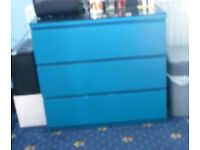 IKEA 3 drawer chest BLUE