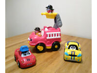 Bundle of Three Toy Cars, Little People and others