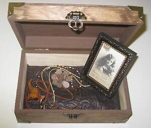 Wooden Box with Wooden necklaces and Picture Frame