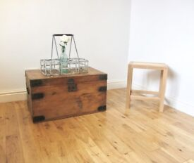 Vintage Metal-bound Storage Chest / Coffee Table / Blanket Box