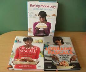 Lot of 3 Lorraine Pascale Hardback Cookbooks recipes, books, baking, bake, cooking, cook