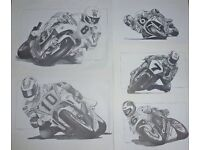 A Truly unique collection of Motorbike racing Legends ~ drawn in pencil.