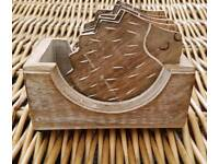 Sass & Belle Set Of 6 Wooden Hedgehog Coasters. New