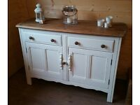 Gorgeous Solid Oak Sideboard/dresser, hand painted in Annie Sloan White chalk paint