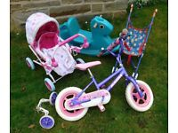 BIKE,GARDEN TOYS CHILDS FIRST BICYCLE+STABALIZERS,DOLLS PRAM+PUSHCHAIR+CARRYCOT,ROCKING HORSE
