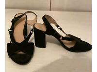 Black slip on block heels