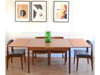 Vintage Danish 'Mobelfabrik' extending teak table and 4 chairs. Delivery. Modern / midcentury/retro.