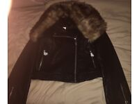 Black leather jacket with fur size L