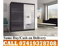 JESICA Sliding Two Door High Gloss Black/White Wardrob