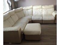 Cream corner leather sofa with storage footstool