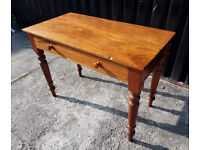 Antique Edwardian Solid Teak Desk with Single Draw, Kitchen Table