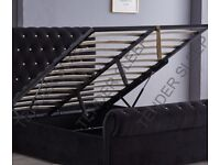 EXCLUSIVE SALE IN TOWN =BEST DELIVERY SERVICE IN UK=BRAND NEW FABRIC CRUSH VELVET SLEIGH BED+STORAGE