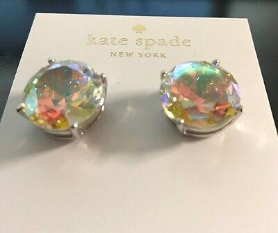 """NWT $59  KATE SPADE N.Y.  IRIDESCENT LARGE STUD EARRINGS .5"""" SILVER"""