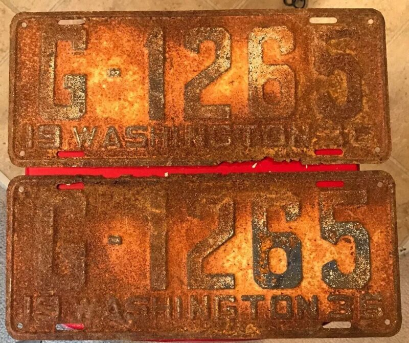 Pair Of 1936 Washington Passenger Vehicle License Plates From Clark County G1265