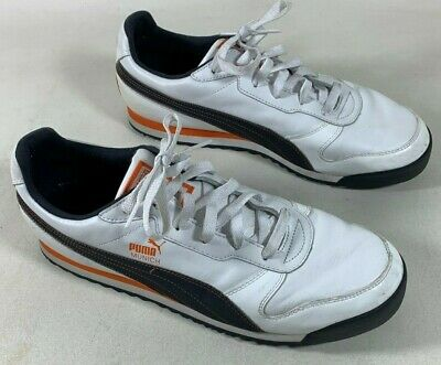 - Puma Munich White Black Orange Striped Leather Athletic Shoes Sneakers Men's 13