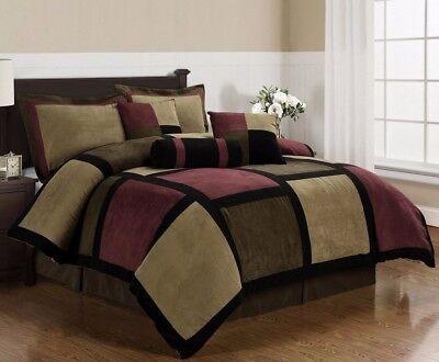 Micro Suede Brown Burgundy Black Patchwork 7-Piece Comforter Set, (Black Microsuede Comforter Set)