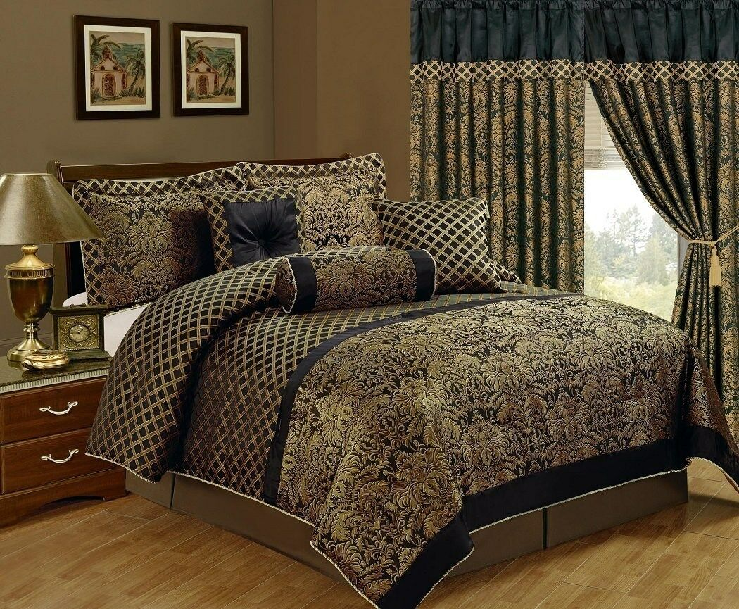 7-Piece Lisbon Jacquard Floral Comforter Set King Black/Gold