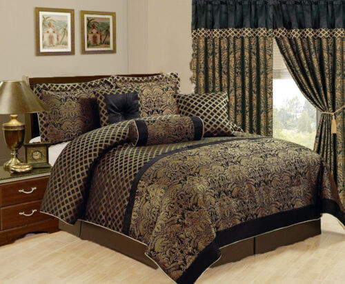 7 Piece  Jacquard Comforter set Black Gold Cal King Size New at Linen Plus Bedding