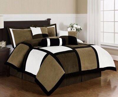 Micro Suede Black Brown White Patchwork 7-Piece Comforter Set, Queen