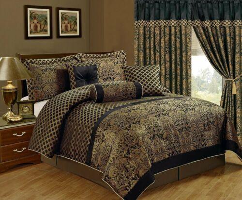 Chezmoi Collection Lisbon 7-Piece Jacquard Floral Comforter Set or Curtain Set