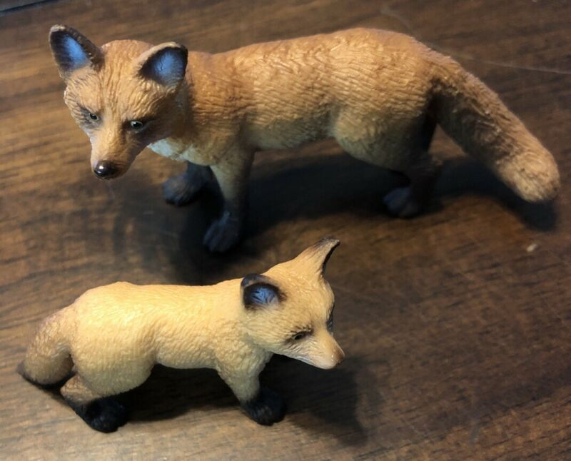 Schleich RED FOX ADULT & KIT Baby Animal figures 2010 Retired