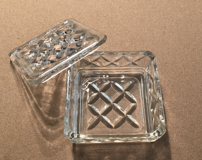 Vintage Square Shaped Glass Trinket or Candy Dish With Lid