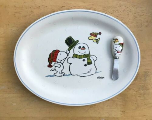 New Hallmark PEANUTS SNOOPY AND WOODSTOCK PLATTER AND CHEESE SPREADER Snowman