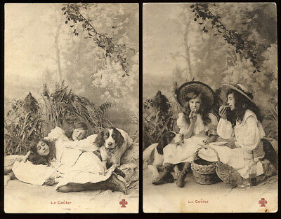 IRISH RED & WHITE SETTER GUNDOG ANTIQUE DOG POSTCARDS X 2 Le Gouter - Tea Time