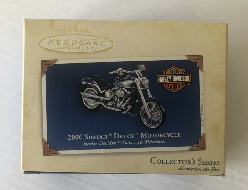 HALLMARK HARLEY-DAVIDSON 2000 SOFTAIL DEUCE MOTORCYCLE ORNAMENT IN BOX
