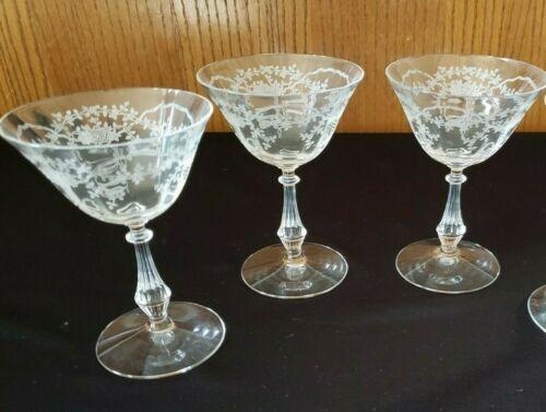 Set of 3 ~ Fostoria Corsage Crystal Etched Champagne Sherbet Goblet Glasses
