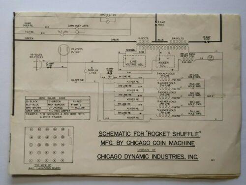 Chicago Coin Rocket Shuffle Alley Wiring Diagram Schematic Arcade Game 1958