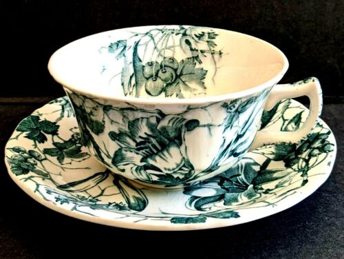 Alfred Meakin Bourbon Lily China Tea Cup &Saucer England Hand Engraved Pattern