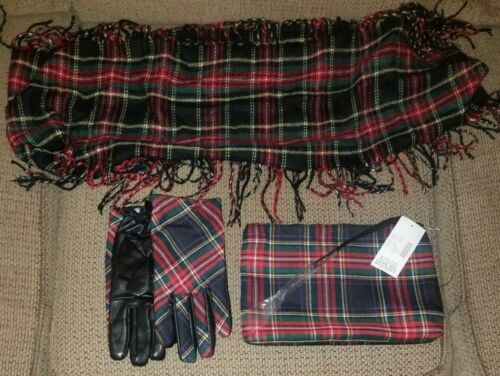 Catherines 3-piece accessories plaid (gloves, scarf, bag)