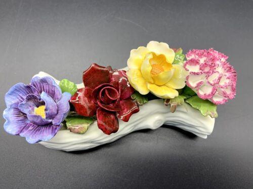 Vintage Aynsley Fine Bone China Figurine, Flowers on a Log