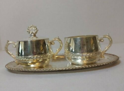 Vintage Silver Plated Sugar and Creamer Set With Tray